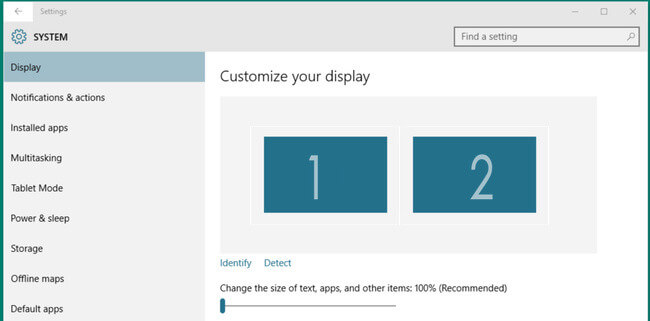 dual monitor display setting