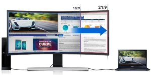 single monitor screen with high aspect ratio