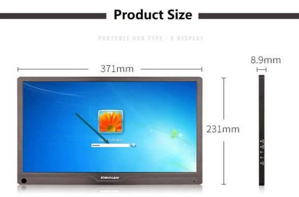 portable monitor size